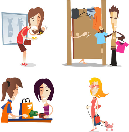 cartoon women shopping Illustration