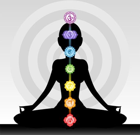 Yoga woman silhouette chakra Vector