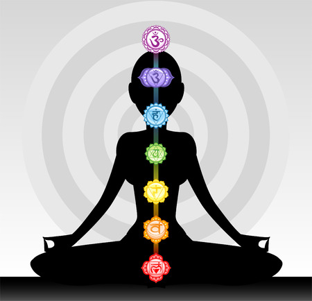 chakra energy: Yoga woman silhouette chakra