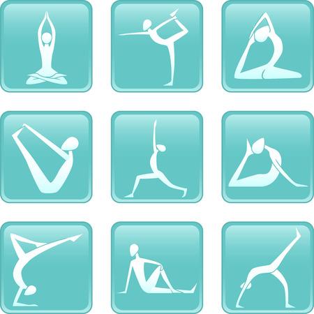 actividad fisica: Yoga Asanas Asana posiciones yoguic iconos Vectores