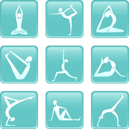physical activity: Yoga Asanas Asana yoguic positions icons