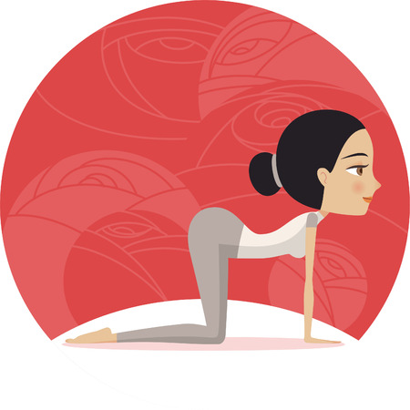 and barefoot: Yoga woman Cat pose