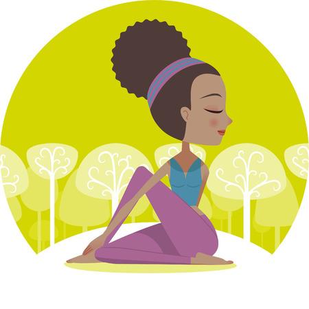 cartoon yoga: Yoga woman hand twist pose illustration
