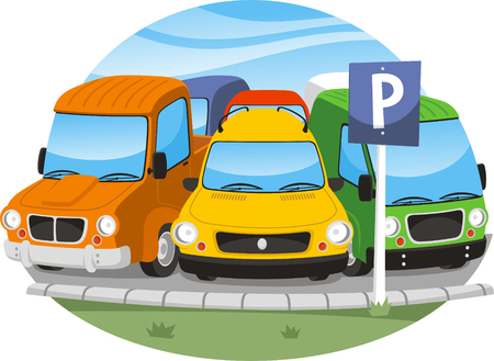 parking space full of cars  illustration