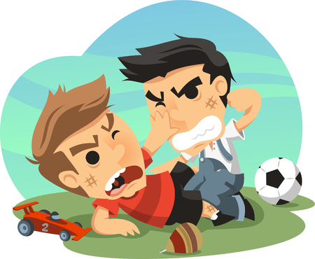 two Little boys fighting cartoon illustration