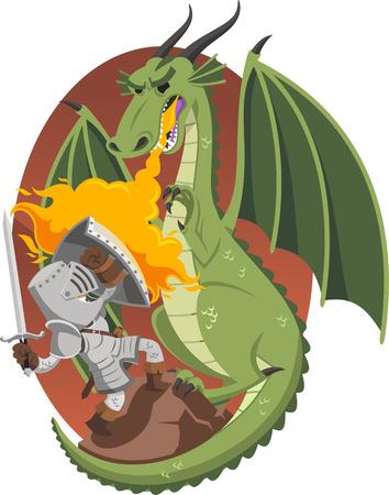 Knight fighting against dragon, illustration cartoon.