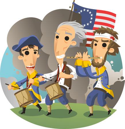 미국 독립 혁명 3 월 만화 일러스트 레이션