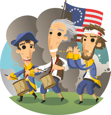 american independence revolution march cartoon illustration Illustration