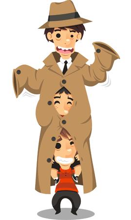 Jongens kleed als volwassen kostuum cartoon illustratie Stock Illustratie