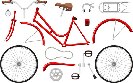 bicycle parts set cartoon