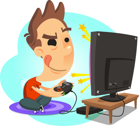 little boy playing videogame