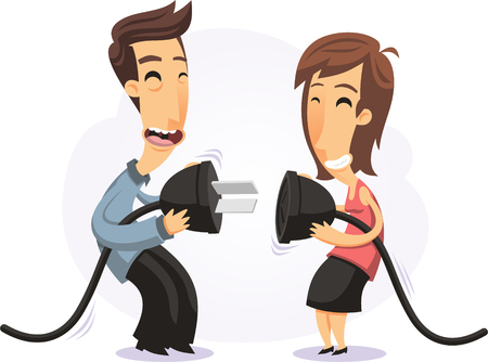 young couple plugging two giant plugs together