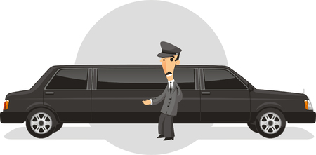executive transportation limousine service cartoon illustration Illustration