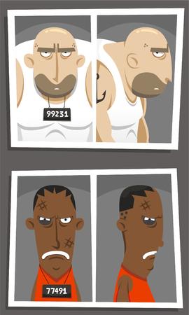 criminal mugshot cartoon set