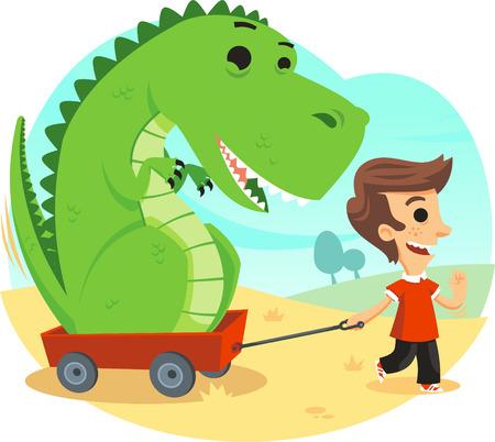 tame: boy with dinosaur pet cartoon illustration Illustration