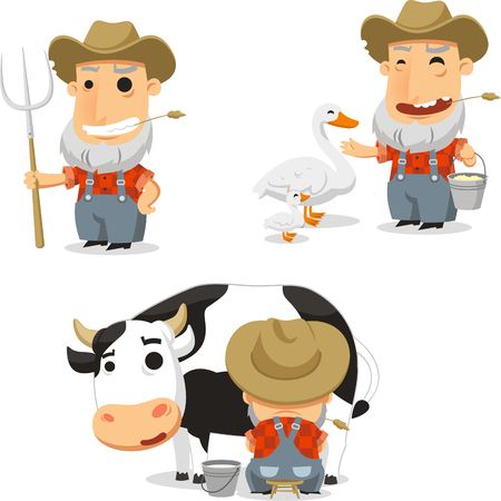 handcart: farmer with animals cartoon set Illustration
