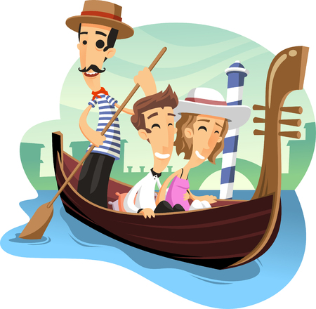 gondola venice ride cartoon illustration