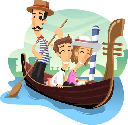 gondola venecia paseo ilustración de dibujos animados Ilustración de vector
