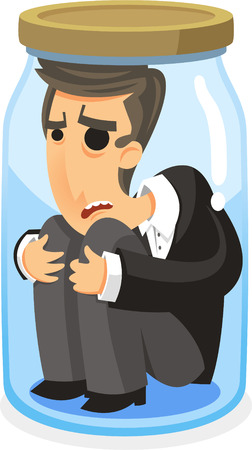 entrapment: man inside a jar cartoon illustration