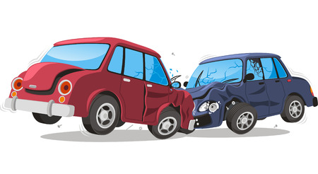 Car crash cartoon illustration