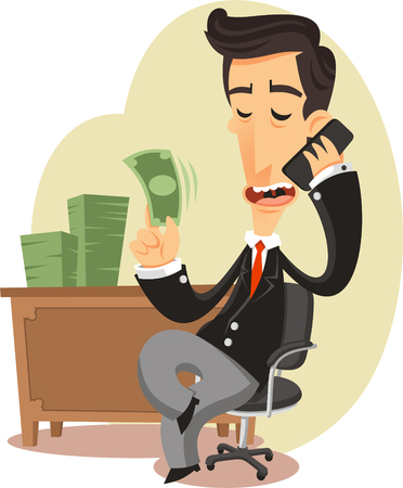 sit: businessman with money cartoon illustration,