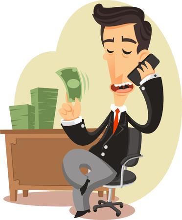 to sit: hombre de negocios con dinero ilustración de dibujos animados,