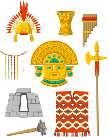 Incas elements set cartoon illustrations