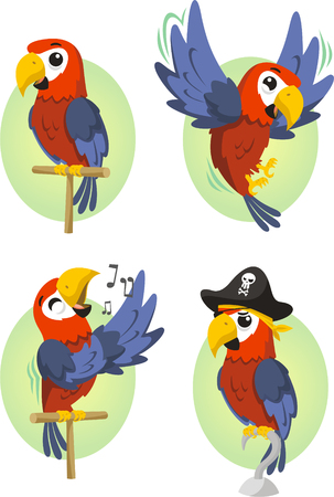 exoticism: Cartoon parrot set Illustration
