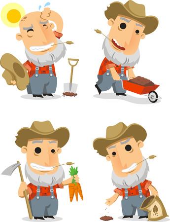 handcart: cartoon farmer set illustration Illustration