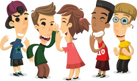 children playing chinese whispers cartoon illustration