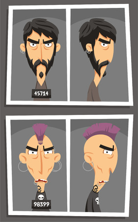 stubble: criminal mugshot cartoon set