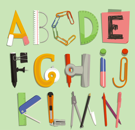 letters with Office Supply Objects illustration cartoon.