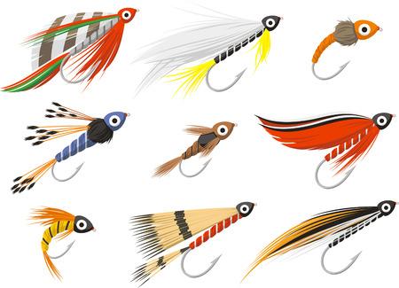 fly fishing illustration set Vektorové ilustrace
