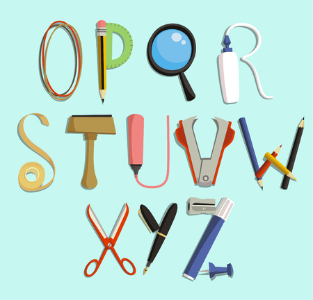office supply: letters with Office Supply Objects, illustration cartoon.