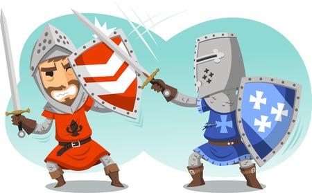 militant: Fighting Knights With Swords Shield Helmet Army Uniform illustration cartoon. Illustration