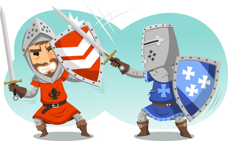 Fighting Knights With Swords Shield Helmet Army Uniform illustration cartoon. Illustration