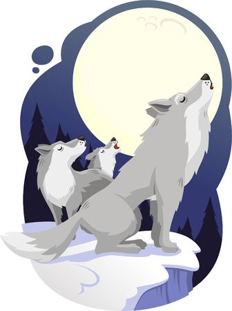 taxidermy: wolves howling to full moon cartoon illustration
