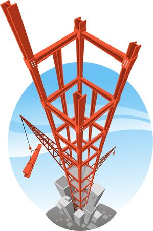 skycraper Building construction crane