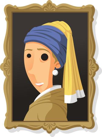 Portrait of a Girl wearing Pearl Earring, illustration cartoon.
