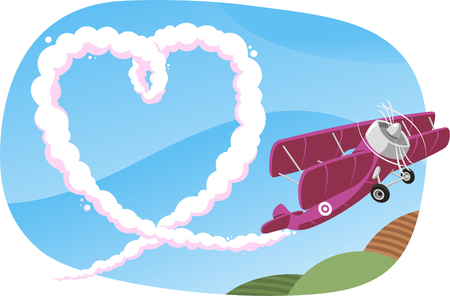 vapor trail: heart drawn in the sky by a plane illustration