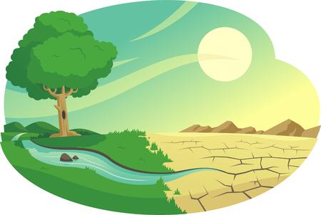 Klimawandel Versteppung Illustration