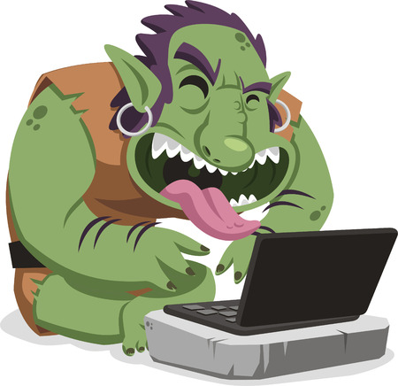 internet troll cartoon illustration Иллюстрация