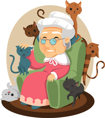 old lady with cats all over cartoon illustration