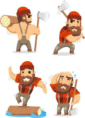 lumberman cartoon set Ilustrace