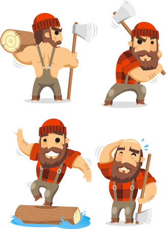 lumberman cartoon set Illustration