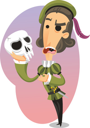 The tragedy of Hamlet cartoon illustration