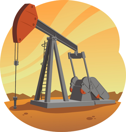 Oil Pump Jack, illustration cartoon.