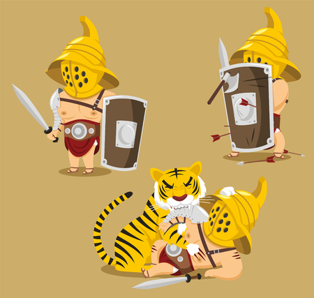 Gladiator Power Glory Blood Winner Hero cartoon illustration