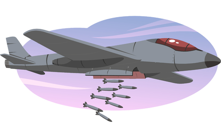 bomber airplane dropping bombs illustration