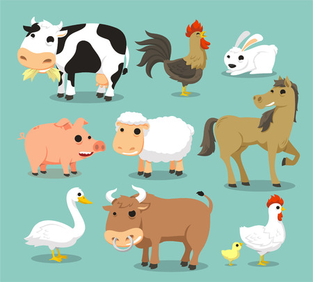 horse like: Farm Animals like Cow, Rooster, rabbit, pig, sheep, horse, duck, bull, hen, chicken.